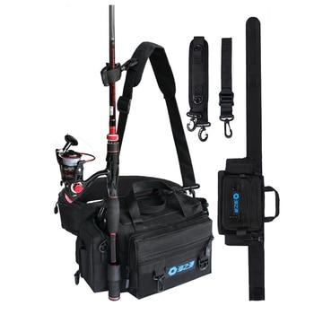 Spinning Fishing Rod Holder Bag Sports Waist Pack Fishing Lures Tackle Gear Storage Bag Single Shoulder Crossbody Bags