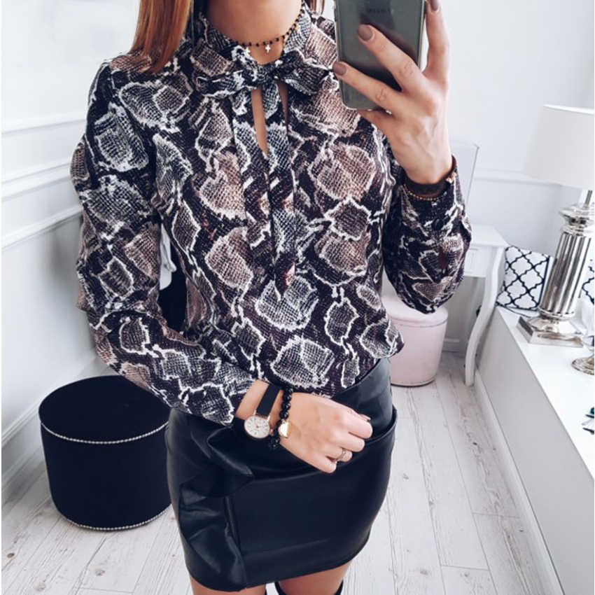619d09f1710f87 New 2019 Fashion women sexy chiffon blouses casual snake skin printed shirts  ladies loose tops
