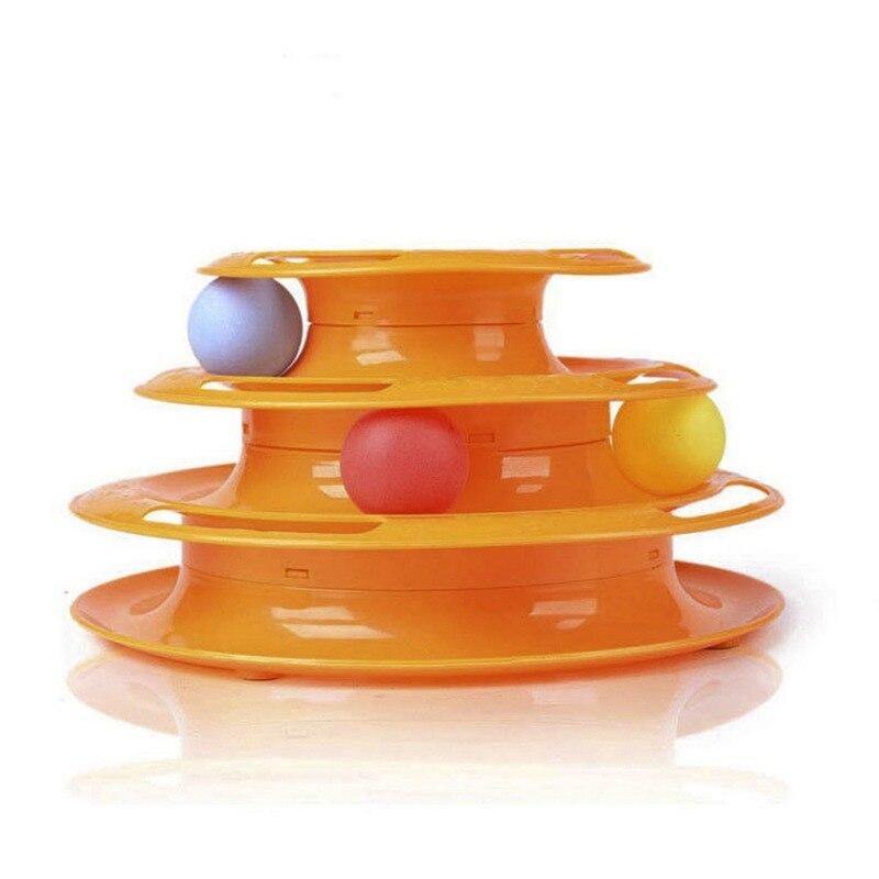 Calidad Superior divertido gato mascota juguete Juguetes para gatos inteligencia triple disco del juego Pelotas de juguete bola Juguetes mascotas verde naranja