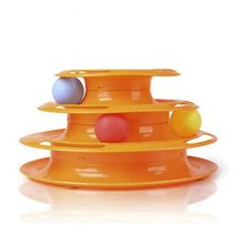 Top Quality Funny Cat Pet Toy Cat Toys Intelligence Triple Play Disc Cat Toy Balls Ball Toys Pets Green Orange(China)