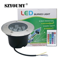 SZYOUMY RGB LED Underground Light Outdoor Buried Recessed 9W 15W 24W AC220V Floor Lamp Waterproof Landscape Stair Light