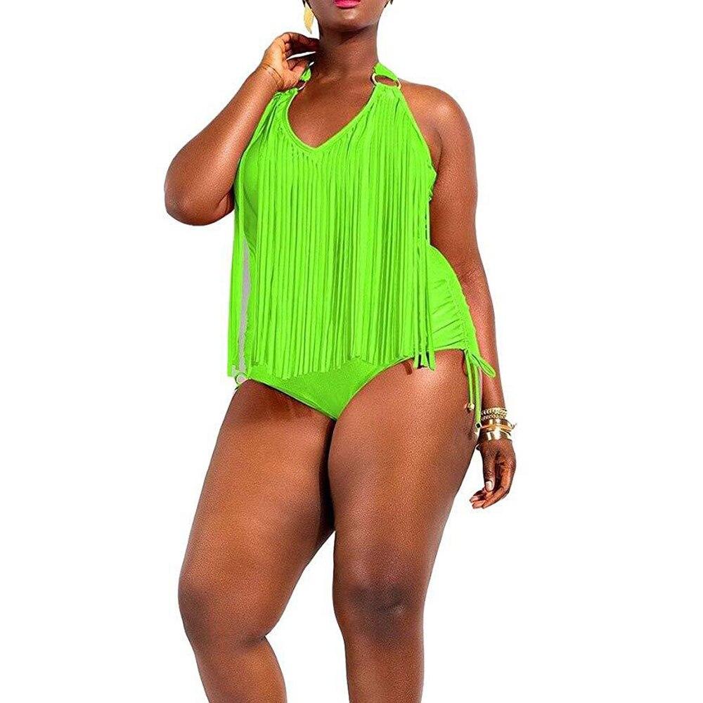 Super Large 2XL 3XL 4XL Plus Size Fringe Swimwear Neon Green One Piece Swimsuit Bathing Suits for Plused Women Tassel Monokini