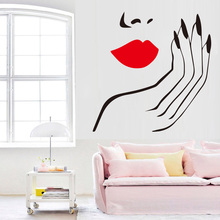 Marilyn Monroe Sexy lady Vinyl Wall Sticker Salon Girl Face Red Lips Decor Mural Living Room girls Bedroom decor Decal