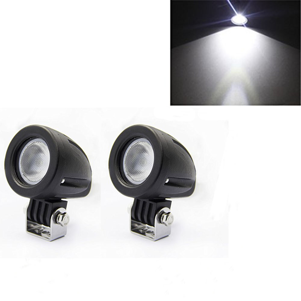 2 Round 10W LED Work Light 60 Degree Medium Floodlight 12V 24V Off road Truck UTV SUV Cabin Boat Motorcycle Bicycle