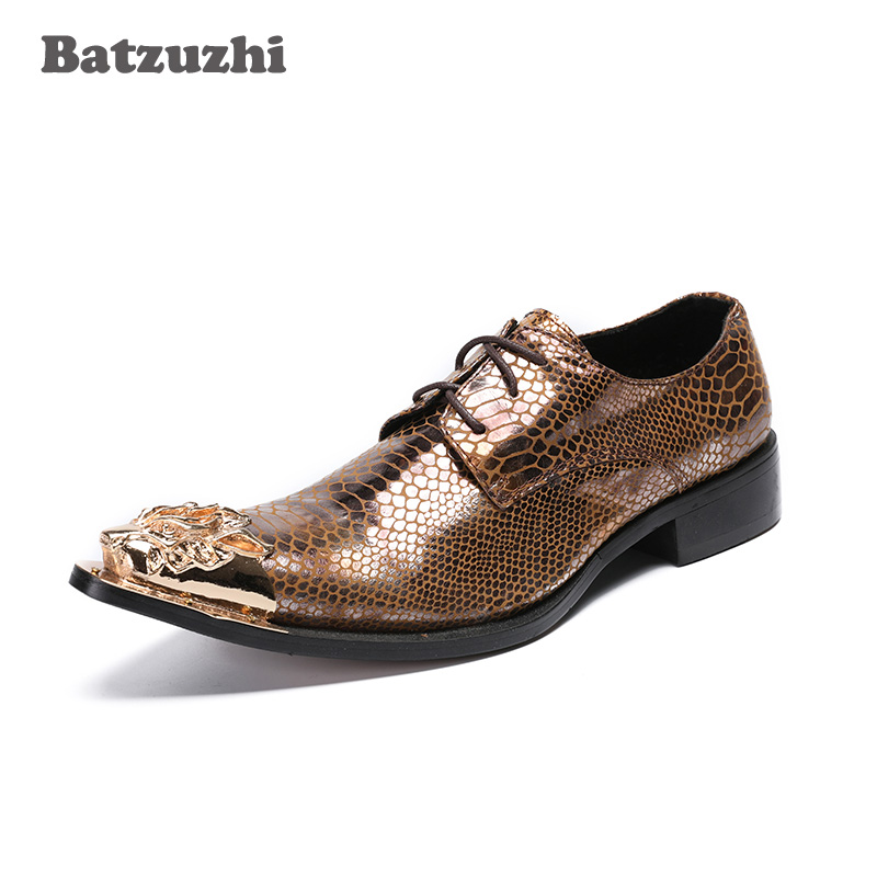 Batzuzhi Luxury Handmade Mens Shoes Pointed Metal Toe Business Leather Shoes Rock Brown Party Footwear for Men, Big Size 46