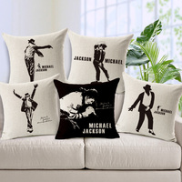 Michael Jackson MJ King Of Pop Linen Cotton Sofa Cushion Cover Portrait Bedroom Decoration Printed Throw