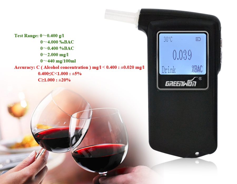 2017 Best Selling Fuel cell sensor breath alcohol tester Certified Patent Breathalyzer Promotional Gift Drive Safety Digital at11 breath alcohol tester portable measuring instrument wine black