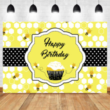 Happy Bee Birthday Backdrop 1st Honey Day Photo Background Sweet as can Vinyl Backdrops Bumble Decorations