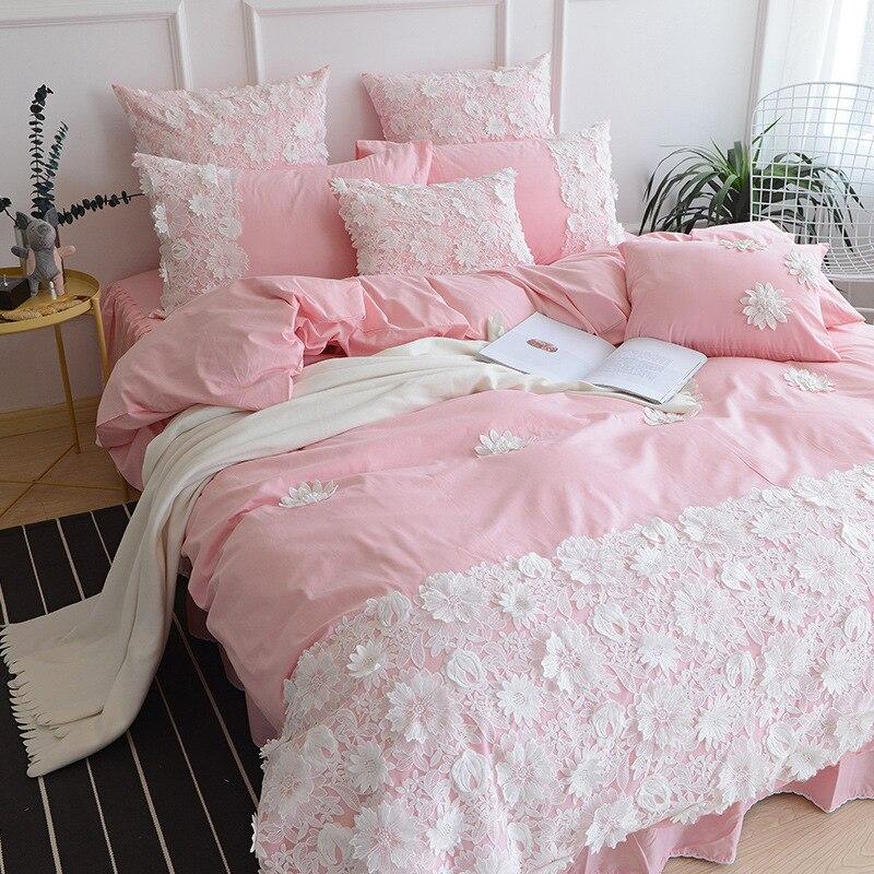3D постельное бельё 100% натуральный хлопок набор пододеяльников для пуховых одеял наволочки постельное белье кружево Вышивка Принцесса рома