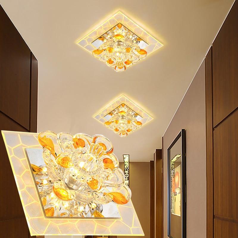 LAIMAIK Crystal LED Ceiling Light 3W 5W AC90-260V Modern LED Crystal Aisle Corridor Light Porch Hall LED Ceiling Lamp LED Light