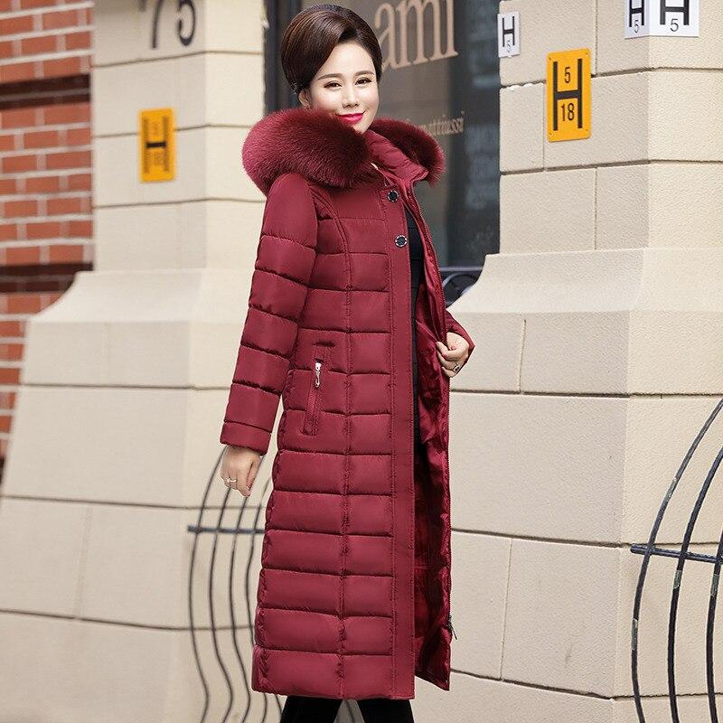 Jesień zimowe ocieplane kurtki futrzany kołnierz damski 2019 Plus rozmiar gruba ciepła bawełna płaszcz zimowy kobiet z kapturem długi Parka odzież wierzchnia 5XL w Parki od Odzież damska na  Grupa 3