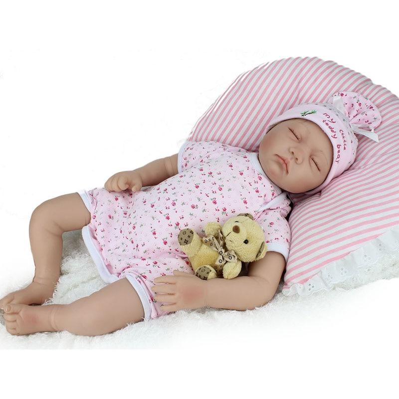 22Inch Soft Silicone Reborn Baby Newborn Doll That Look Real For Sale Lifelike Vinyl Sleeping Reborns Babies Children Toys Gift цена