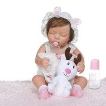 48cm Soft Full Silicone Vinyl Newborn Babies Girl Lifelike Handmade Toy Children Birthday Gifts Sleeping Realistic Reborn Doll