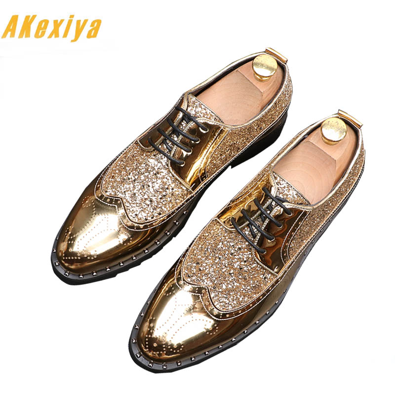 Gentleman Bal Glitter Sapato En Or Masculino 3 2 Mode De Chaussures Paillette 1 Sociale Mâle Robe Cuir Hommes Noce 1qfv7xnEww