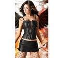 Basque Sexy Preto Faux Leather Corset Bustier Mini Saia Clubwear Fetiche Traje