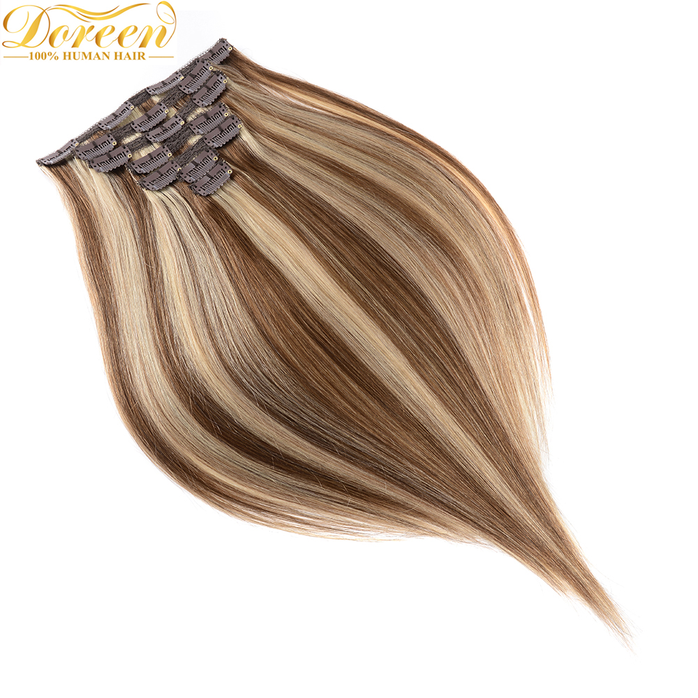 Human-Hair-Extensions Hair-Clip Brazilian Remy Straight 120g 12--To-22-Machine-Made Double-Drawn
