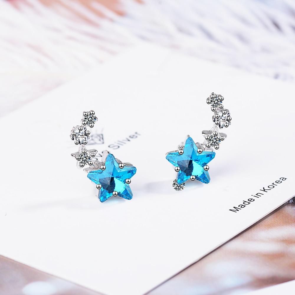 New Fashion 925 Sterling Silver Zircon Cute Blue Crystal Star Stud Earrings For Women Female Jewelry Birthday Gift Drop Shipping