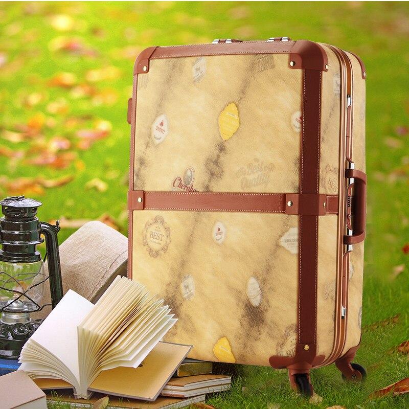 Нове прибуття! Комерційна алюмінієва рама коробка багаж 20 24 жіночий vintage універсальні колеса візки багаж дорожня сумка багажу