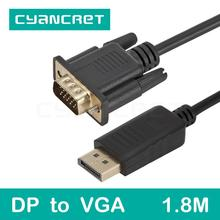 Video Cable Displayport DP to VGA Cable 1.8M Male-Male Convert Transmits HD Video Adapter for TV Monitor Projector Support 1080P