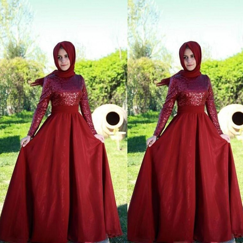 Wine Red Muslim Long Evening Dresses 2017 Sequined O Neck Long Sleeve Party Dress with font