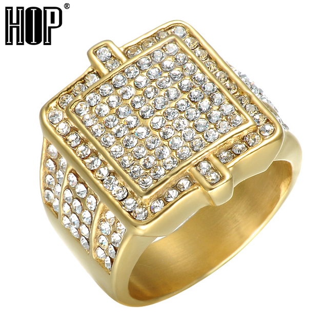 Hip Gold Color Crystal Wedding Ring For Men Bling Iced Out Stainless