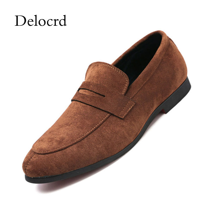 New Slip On Men Shoes Classic Suede Leather Loafers for Man Summer Footwear Breathable Casual Breathable Men Flat Shoes Delocrd northmarch men casual shoes breathable summer men shoes slip on soft flat shoes for men fashion men s loafers shoe footwear