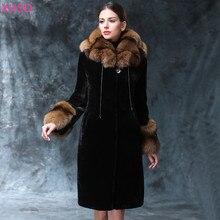 Women Winter Luxury Newest Fashion Comfortable Warm Thick Wool Outerwear Plus Size 3XL Medium Long Faux Fur Collar Coat XHSD-205