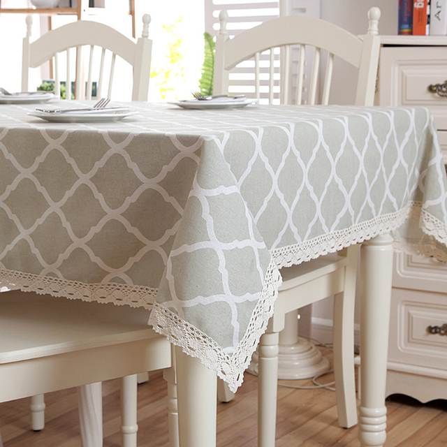 Senisaihon Modern Linen Cotton Tablecloth Gray Lace Geometry Rhombus Table  Cloth Wedding Banquet Washable Table Cover