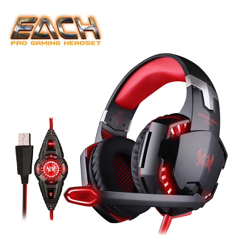 EACH G2200 Headphones For Computer Gaming Headset USB 7.1 Surround Sound Vibration with Microphone LED Light PC Headset Gaming