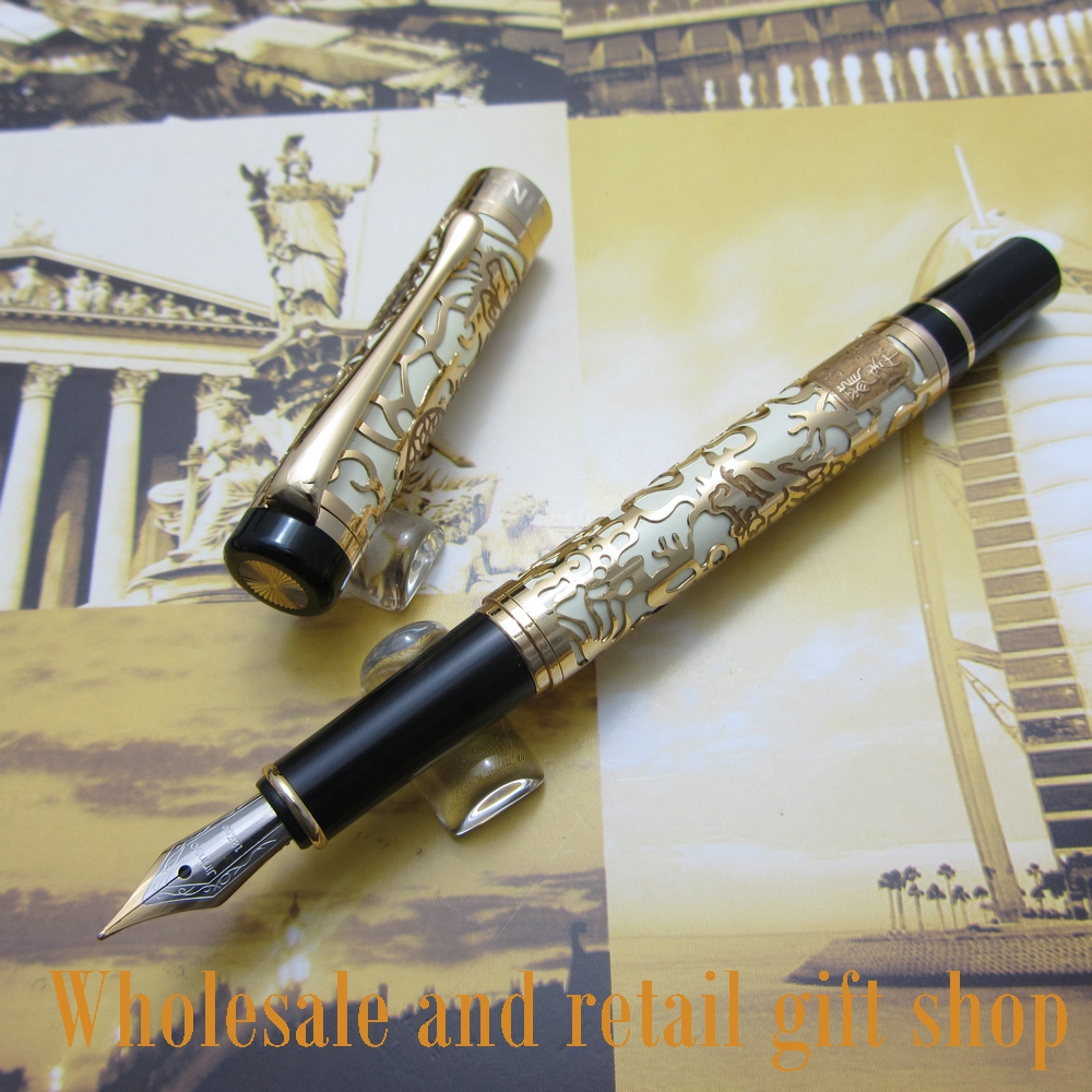 Free shipping 0.7MM perfect Kim Ho celluloid pen engraved of Gold and white fountain Pen