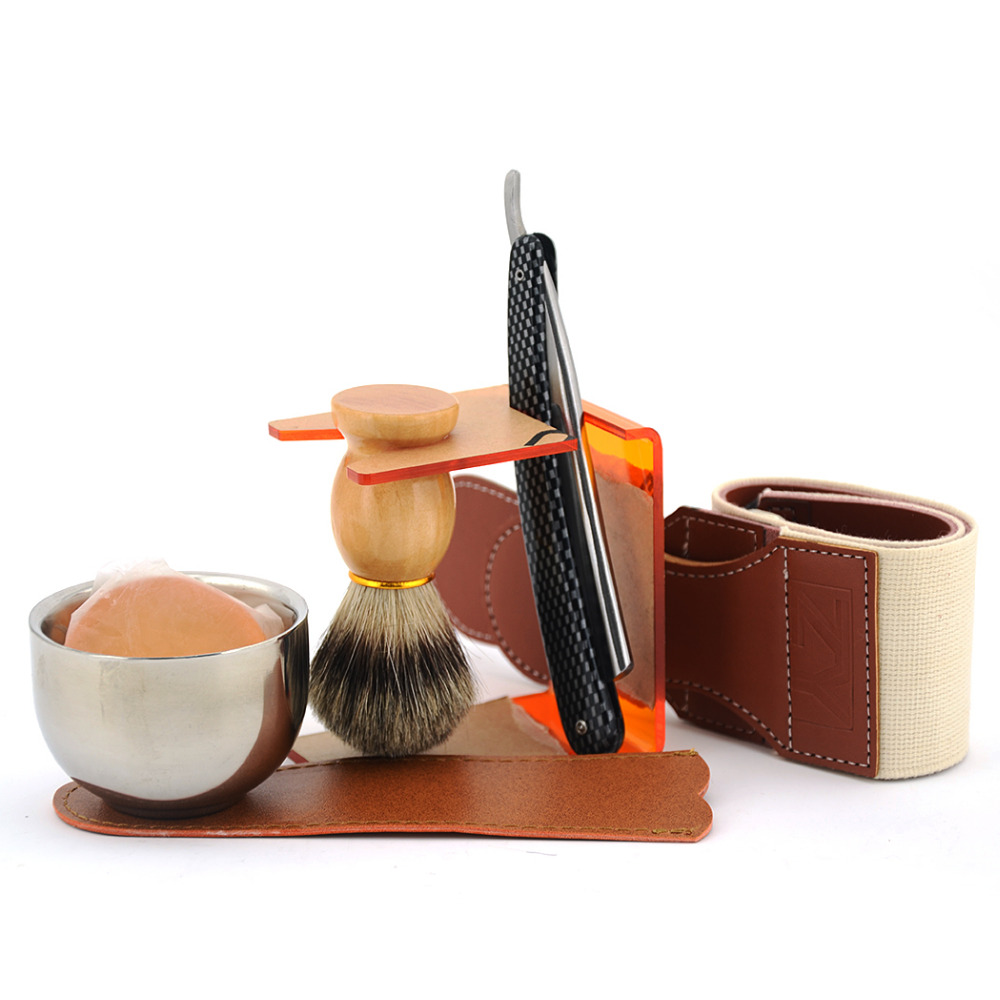 ZY 7pcs Barber Shaving Set Gold Dollar Straight Razor Folding Knife Badger Hair Beard Brush Bowl Soap Stand + Sharpening Strop vintage men shave beard straight shaving razor cut throat knife gold dollar 800 leather sharpening strop polishing paste