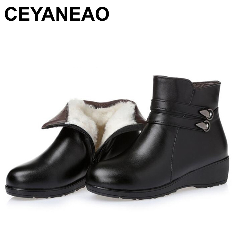 CEYANEAO WOMEN WINTER WARM BOOTS GENUINE LEAHTER WOOL ANTISKID SNOW BOOTS MATHER ANKLE WINTER BOOTS PLUS