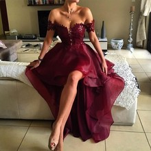 цены Evening Dress Hi Low Burgundy Vestido De Festa Custom Made Appliques abendkleider Evening Dresses Sleeves Organza vestido longo