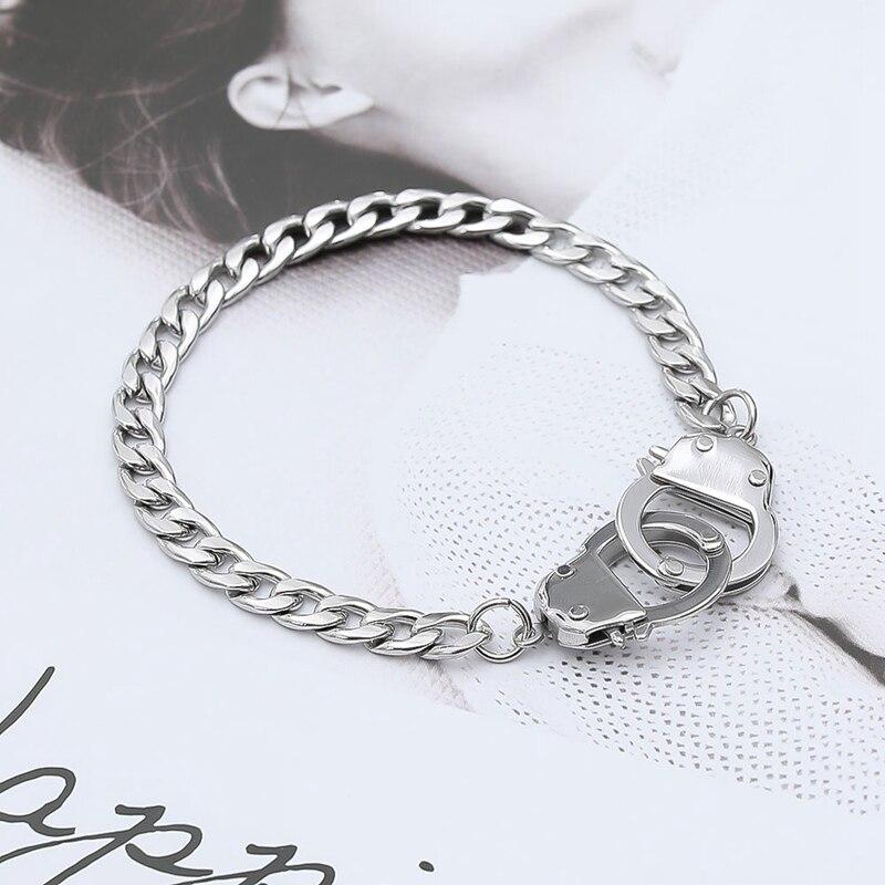 Lovers Bracelet Valentine`s Day Present For Woman Man Silver Color Bracelet Charm Jewelry Handcuff Bracelets&Bangles(China)