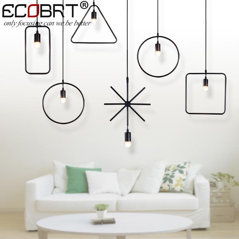 ECOBRT Retro Vintage Loft Pendant Lights Lamps Creative Style at Living Room Black Art Dec Metal Cord Pendant Lighting Fixtures