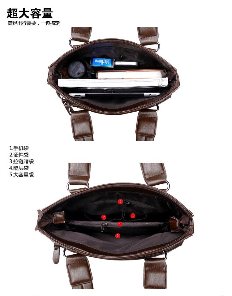 ZYJ Men\`s Business Leather Shoulder Laptop Briefcase Bags Sling Travel Messenger Portfolio Bag Causal Bolsa Lawer Handbag (41)