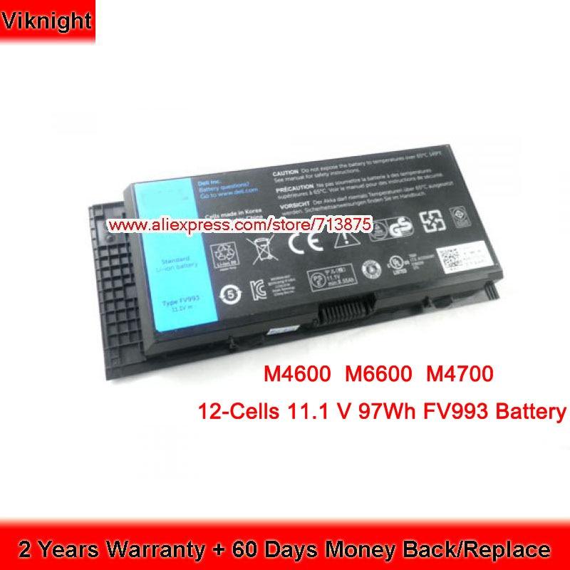 9 Cells 11.1V 97Wh FV993 PG6RC Battery for Dell Precision M4600 M4700 M4800 M6600 M6700 0TN1K5 FRR0G slim 19 5v 9 23a 180w laptop charger adapter for dell precision 7510 7520 m4600 m4700 m4800 mobile workstation da180pm111