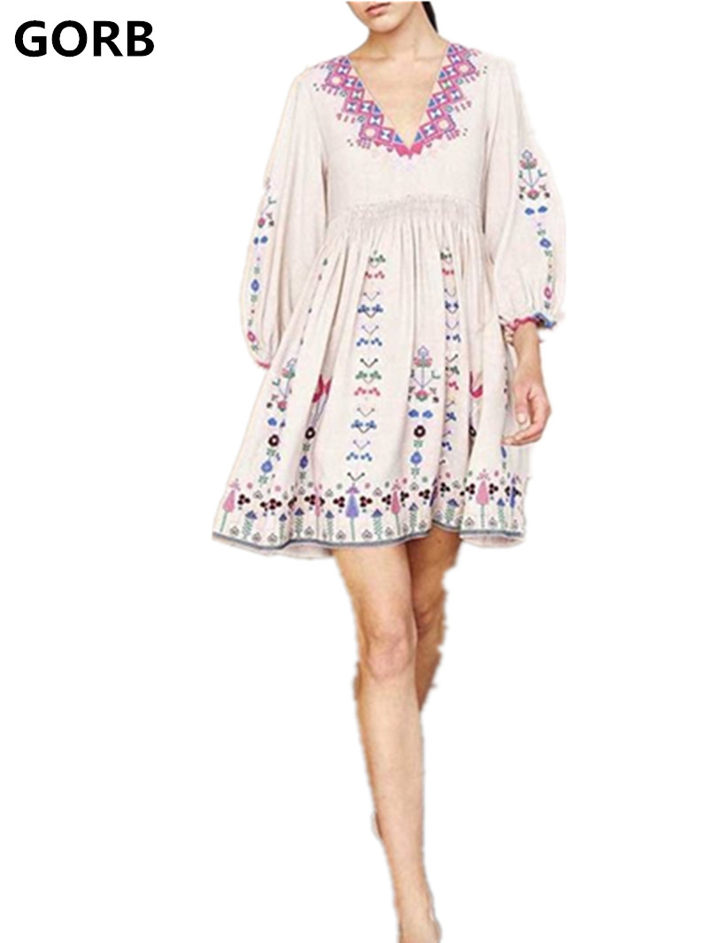 GORB Bohemian People Mexican Embroidery Mini Dresses 2018 New Womens Black White Print Embroideried Boho Hippie Chic Party Dress chelsea verde hippie chic boho flowy poncho blouse shirt