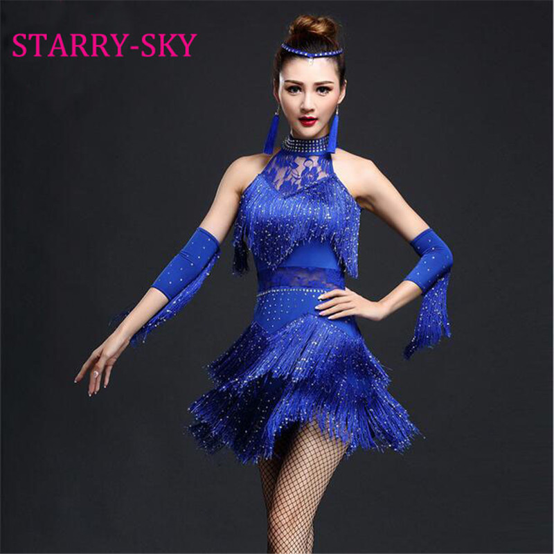 Sequins Fringes Latin Tango Dance Skirt Women Ballroom Salsa Dancing Dress Samba Rumba Party Costume Tassel Dresses latina