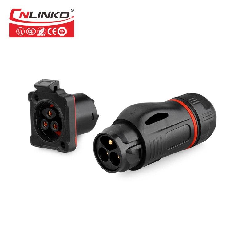 CNLINKO M24 alto rendimiento plástico PBT 3pin 20A rápido push pull panel de montaje impermeable ip67 conector
