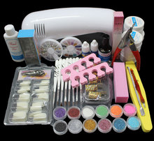 Pro Nail Art UV Gel Kits Tools Pink UV lamp Brush Tips Glue Acrylic Powder Set BTT-89