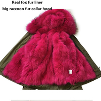 Women S Army Green Large Color Raccoon Fur Hooded Coat Parkas Outwear Long Detachable Real