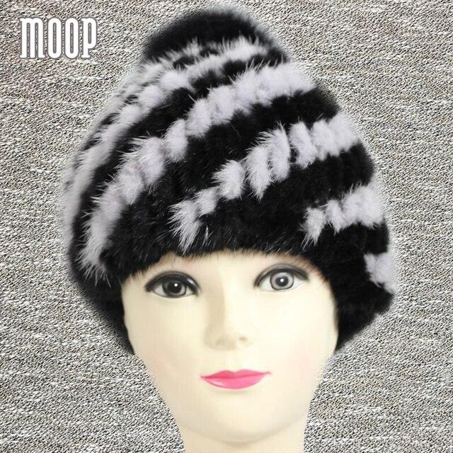Ano novo inverno chapéus de pele de vison para as mulheres reais de pele de  tricô caaa6d4465f