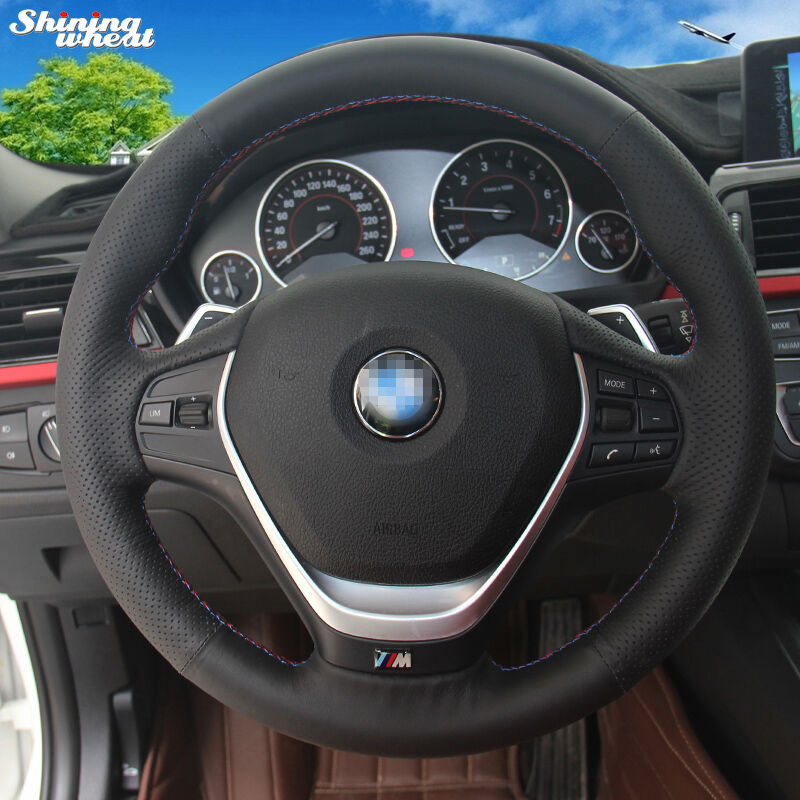 Shining wheat Black Genuine Leather Hand stitched Car Steering Wheel Cover for BMW F30 320i 328i