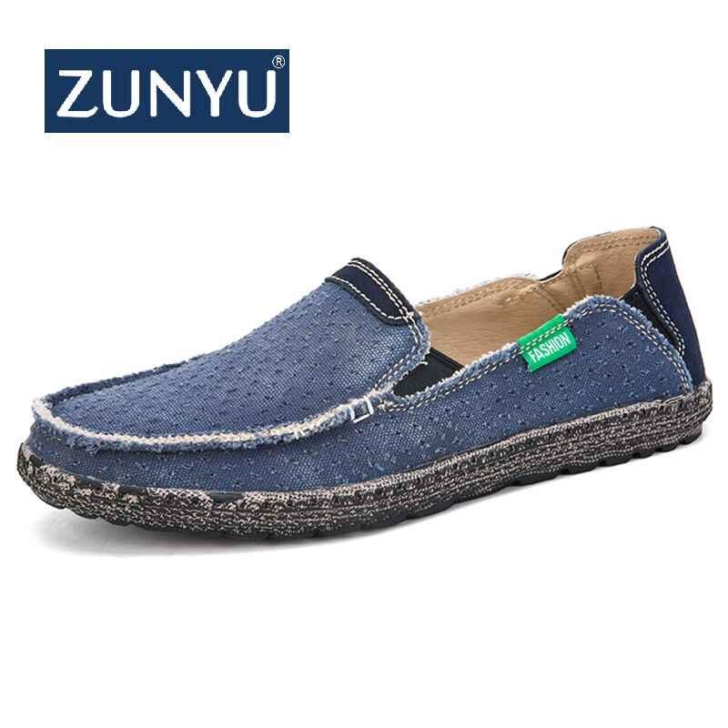 ZUNYU Canvas Instappers Schoenen Slip op Mannen Casual Schoenen Zomer Nieuwe 2019 Ademend Mode Zachte Platte Rijden Schoenen Maat 39 -47
