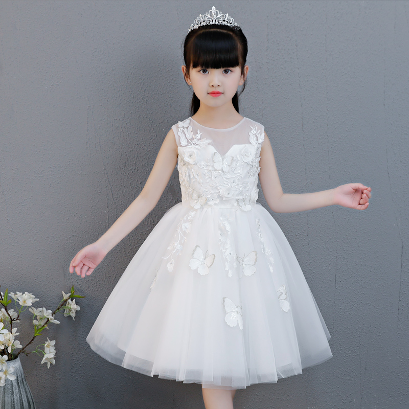 2018 Summer New Children Girl Sleeveless O-Neck White color Flowers Birthday Wedding Party Dress Kids Tutu Dress for 3-13 yrs graceful sleeveless pointelle solid color dress for women