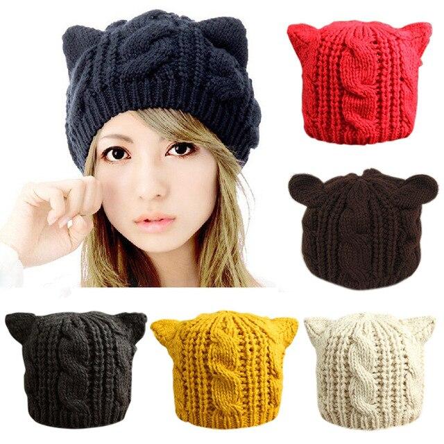 Красивая шапка с кошачьими ушками, женская теплая однотонная шапка в стиле хип-хоп, милые зимние вязаные шапки для девушек, Повседневные шапки из шерсти