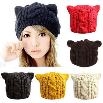Lovely Cat Ears Hat Beanie Women Warm Solid Color Hip-hop Cap Lady Girls Cute Winter Knitted Skullies Beanies Casual Wool Caps 2020 high quality frog hat beanies knitted winter hat solid hip hop skullies knitted hat cap gifts warm winter lovely christmas