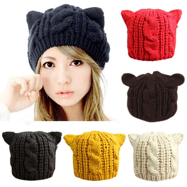 10f779f54e9 Lovely Cat Ears Hat Beanie Women Warm Solid Color Hip-hop Cap Lady Girls  Cute