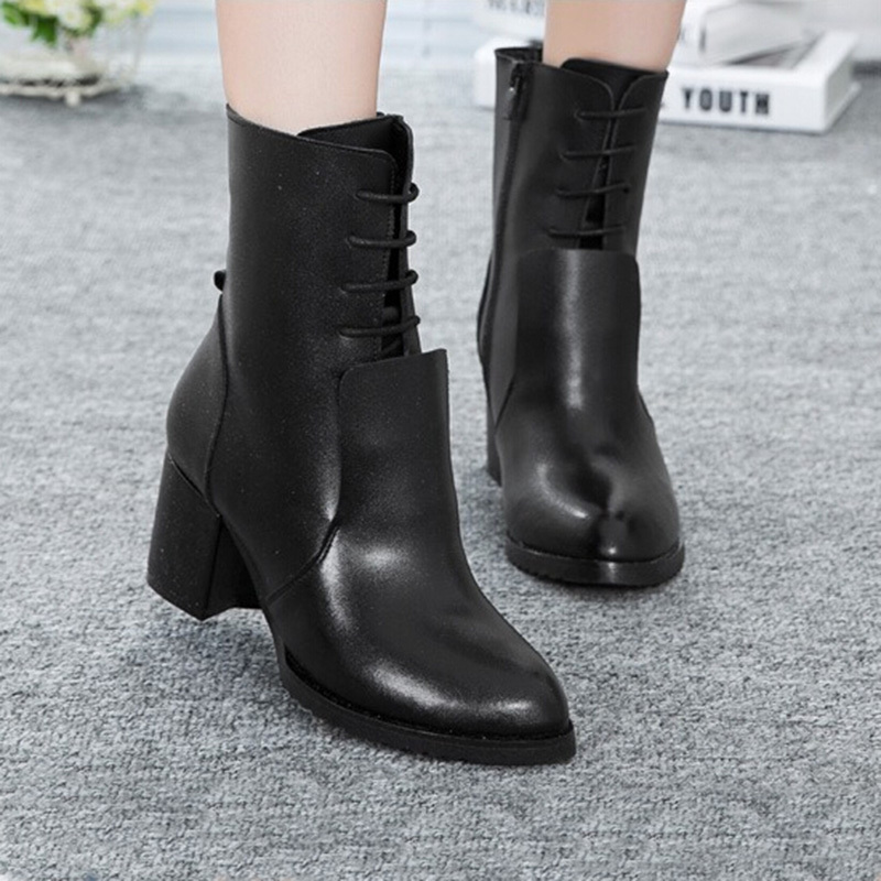 ФОТО 2017 Autumn Winter New Genuine Leather Fashion Women Boots Round Platform Black Flat Shoes Solid Female Ankle Boots Shoes ZK3